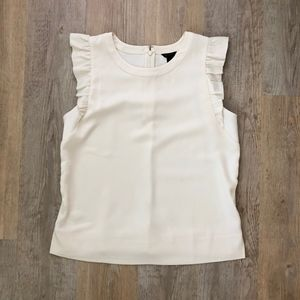 Ann Taylor Flutter Sleeve Top Ivory Small